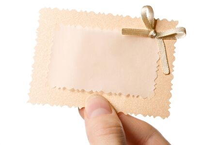 Woman holding card in the hand Stock Photo - 10831432