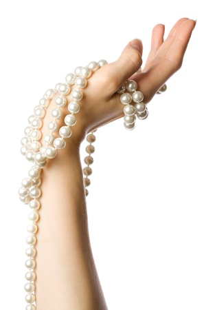 jewel hands: Pearl in the woman hand Stock Photo