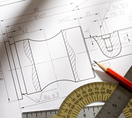 delineation: Draft with drafting instrument Stock Photo