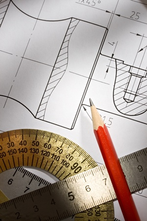 Draft with drafting instrument Stock Photo - 10831399