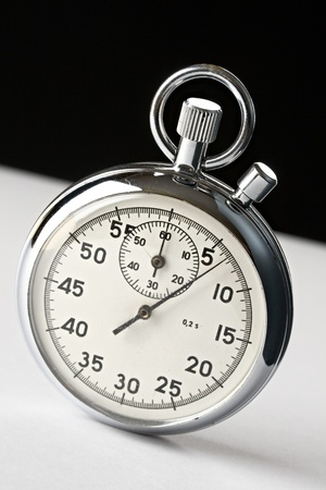 end of time: Stopwatch on black and white background