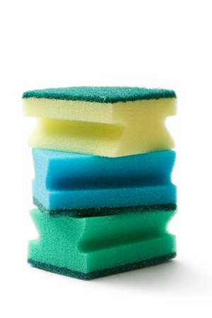 Bath sponges isolated on the white background photo