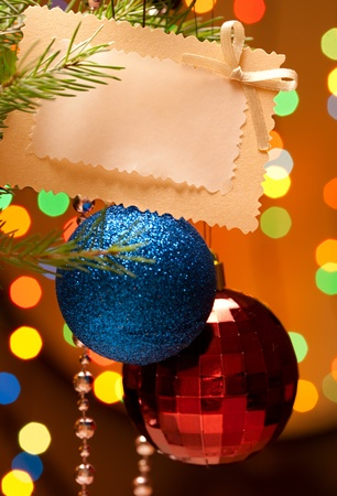 Christmas-tree decorations and card Stock Photo - 10889138