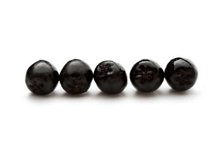 bacca: Black chokeberry isolated on the white background