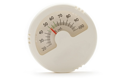 humidity gauge: Hygrometer on the white background Stock Photo