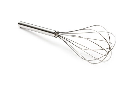 Steel whisk on the white background