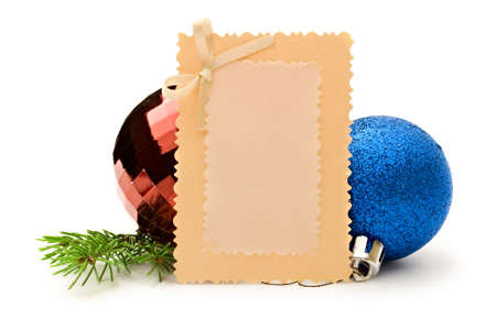 New-Year tree decoration and card isolated on white Stock Photo - 11080836