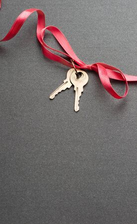 Keys with ribbon on the grey background photo