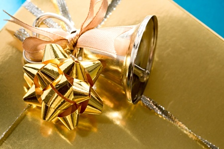 handbell: Decorated gift box with a handbell Stock Photo