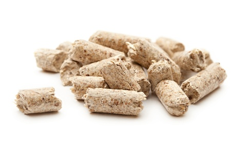wooden pellets isolated on white