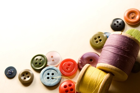 A pile of many-coloured buttons photo