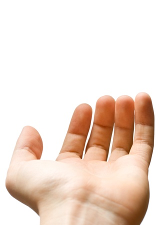 male palm: Male hand on a white background