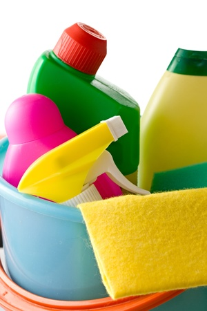 household objects equipment: Plastic bucket with cleaning supplies