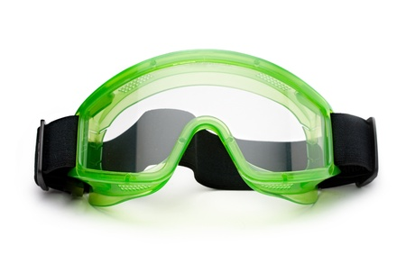 eye protectors: Green safety eye shields with strap Stock Photo