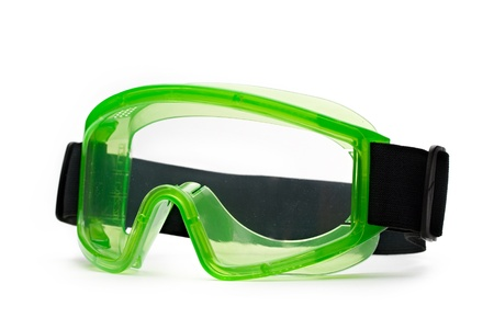 Green safety eye shields with strap Stock Photo