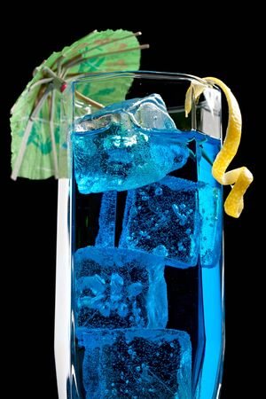 Blue curacao cocktail with decoration Stock Photo - 12078383