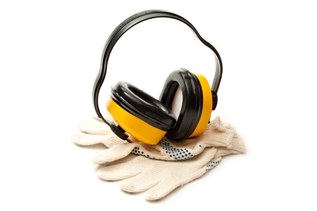 Headphones and pair of working gloves Stock Photo - 12328061