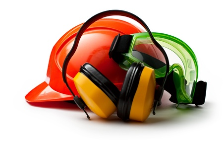 safety wear: Red safety helmet with earphones and goggles