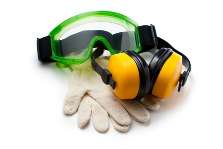 Green goggles with gloves and earphones photo