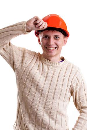 casco rojo: Trabajador en el casco rojo sobre fondo blanco