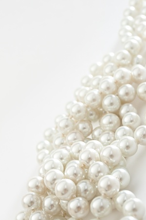 String of pearls on white  Stock Photo