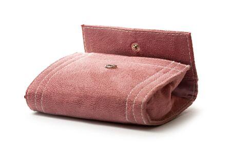 corduroy: Lilac corduroy purse on white Stock Photo