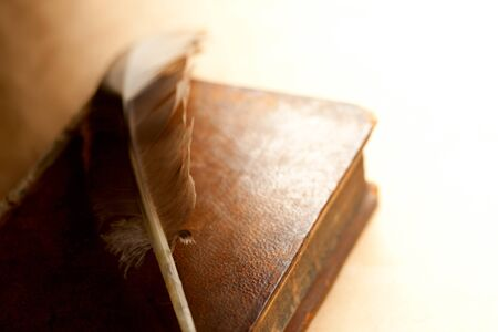 Feather and old book  Stock Photo - 12752784