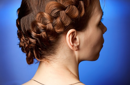 sideview: Modern hairdo with plaits sideview