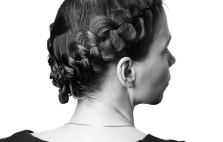 Modern hairdo with plaits sideview Stock Photo - 12753120