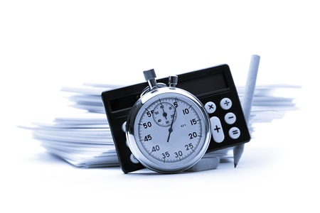Pile of paper cards, calculator and stopwatch Stock Photo - 12952816