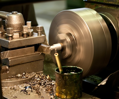 machinery industrial: Turning lathe in the workshop Stock Photo