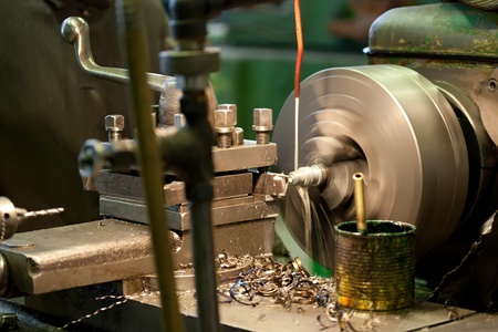 Turning lathe in the workshop Stock Photo
