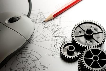 cad drawing: 機械棘輪,起草和鼠標