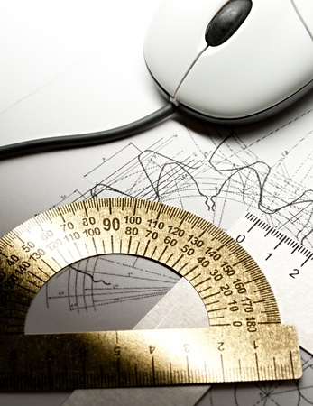 mechanical mouse: Drafting instruments and mouse Stock Photo