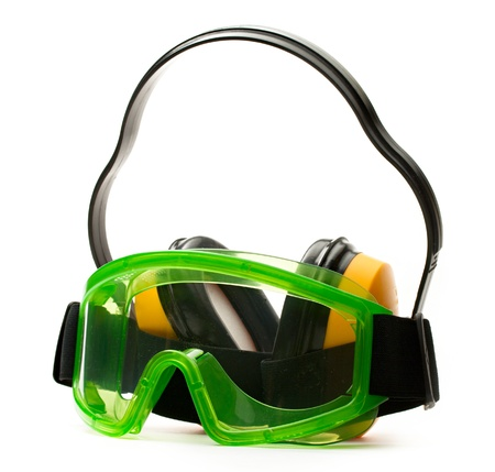 Green goggles with earphones  Stock Photo - 13765311