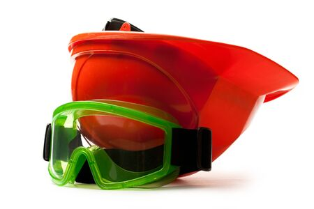 Red safety helmet with goggles photo