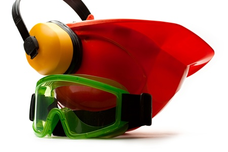Red safety helmet with earphones and goggles photo