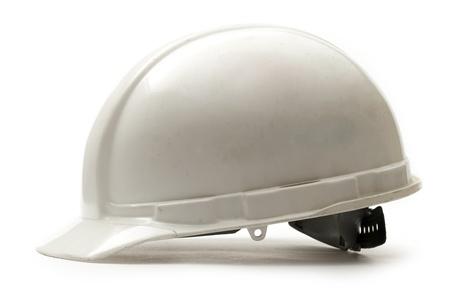safety helmet: Trabajo en el casco de seguridad blanco Foto de archivo