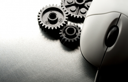 mechanical mouse: Mechanical ratchets and mouse in grey