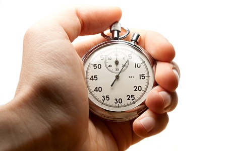 Männliche Hand holding Stoppuhr Standard-Bild