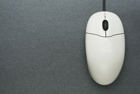 Computer mouse on grey background photo