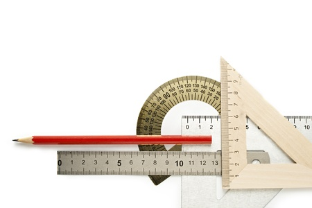 drafting tools: Drafting tools on white background Stock Photo