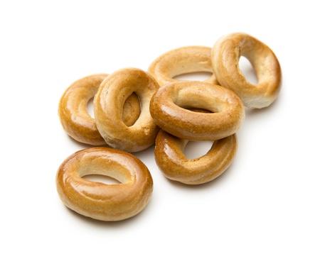 baranka: Small bread ring crackers on white Stock Photo