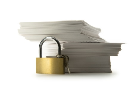 Stack of paper cards and keylock Stock Photo - 14121880