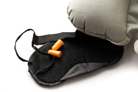 Sleeping mask, cushion and earplugs