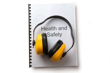 industrial noise: Health and safety register with earphones