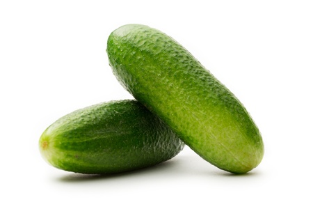 Fresh green cucumbers on white photo
