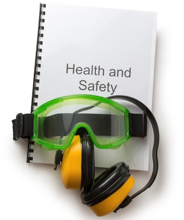 seguridad e higiene: Salud y registro de seguridad con gafas y aud�fonos Foto de archivo
