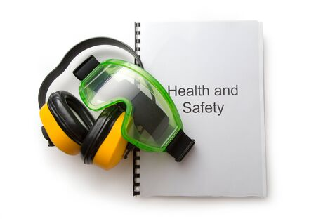 eyeshield: Health and safety register with goggles and earphones