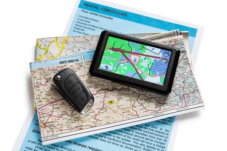 navigator: Road map and navigator on white Stock Photo